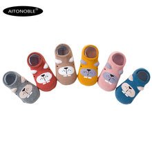 Aitonoble/6 пар детских Противоскользящих носочков; нескользящие носки для младенцев; аксессуары для одежды