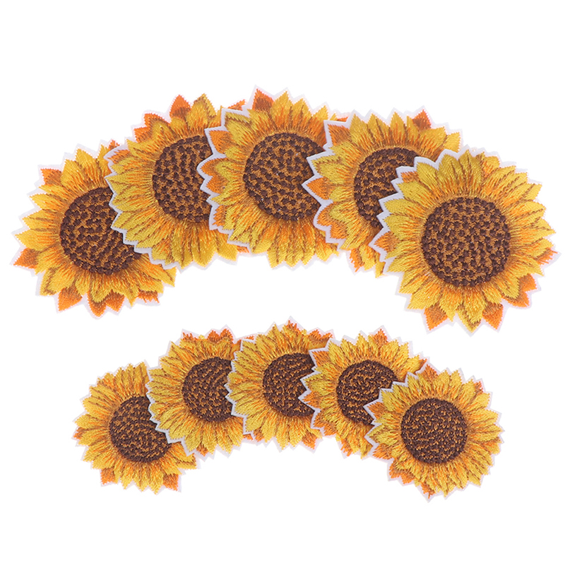 5 Pcs Sunflower Badge Patch Embroidered Applique Sewing Cloth Stickers