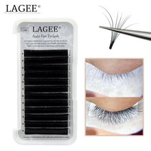 LAGEE 12 lines auto fans Eyelash Extension bloom volume lashes easy fans Russian volume faux mink eyelash 3 different length