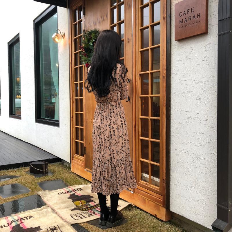 Hfe4f675aa03949a0ba8c9b362622ec65j - Autumn Korean V-Neck Long Sleeves Chiffon Floral Print Midi Dress