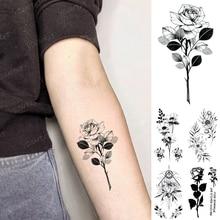 Waterproof Temporary Tattoo Sticker Rose Flower Peony Leaf Butterfly Tatoo Arm Hand Shoulder Black Man Woman Child Fake Tatto