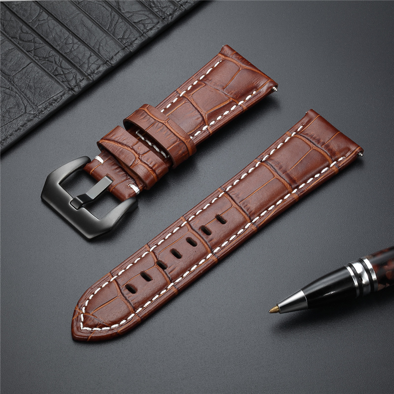 Genuine Leather Strap High Quality Bamboo Texture Watchband 20 22 24 26mm Watch Accessories Stainless Steel Buckle Straps