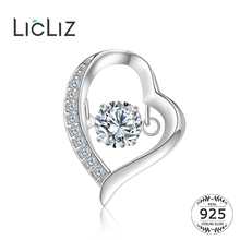 LicLiz 925 Sterling Silver Pave CZ Zircon Diamond Heart Necklace Pendant for Women Hollow Heart Charm DIY Pendant Jewlery LP0237