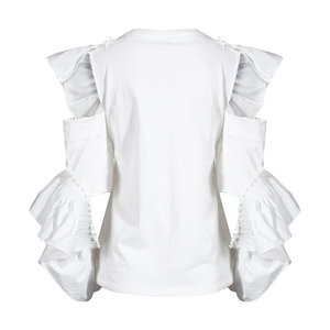 [EAM] Women White Off Shoulder Ruffles Blouse New Round Neck Long Sleeve Loose Fit Shirt Fashion Tide Spring Summer 2020 1W023