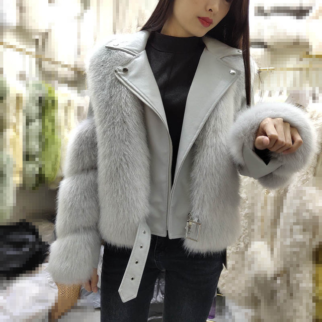 Short full leather motorcycle model PU leather imitation fox fur coat female 2020 new winter was thin net red fur overcoat
