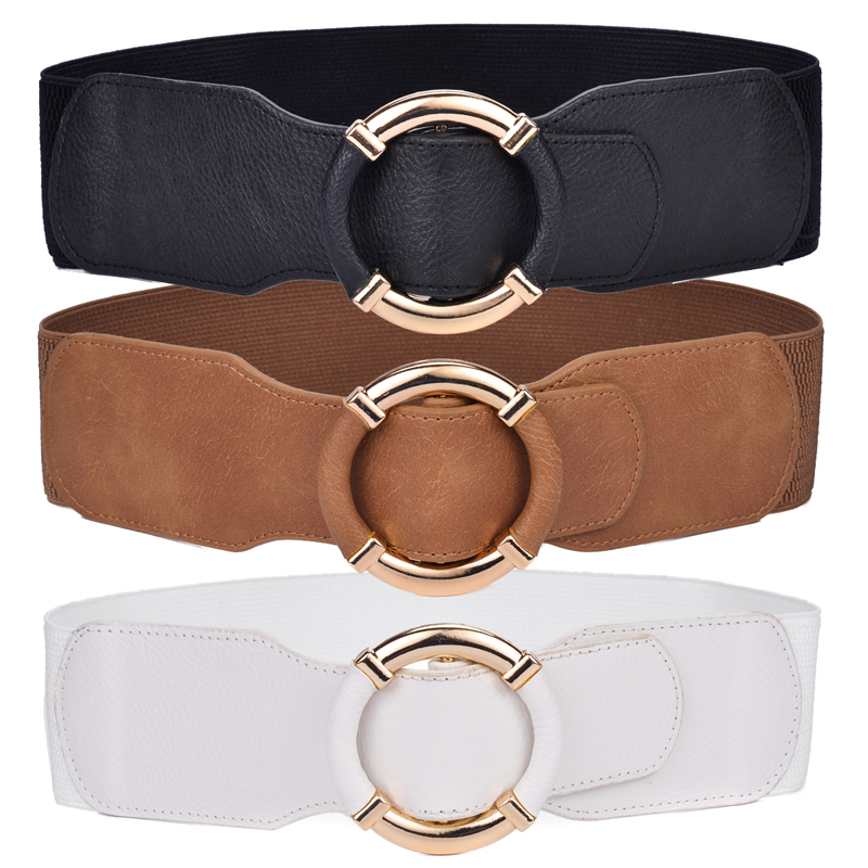 Beltox Women's Elastic Stretch Wide Waist Belts w Wrapped Gold Circle Buckle title=