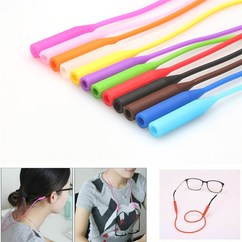 Silicone Glasses Strap Chain Holder Cord Neck Lanyard 53cm For Reading Keeper 5 Colors Total Length 53cm