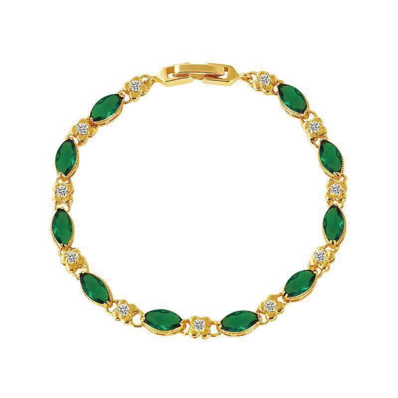 MxGxFam (17.5cm + 3 cm) חדש ירוק/אדום זירקון צמידי נשים תכשיטים טהור זהב צבע 24 k
