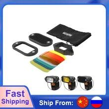 Selens 7 色スピードライトフィルターハニカムグリッド磁気ゴムバンド永諾キヤノンニコンフラッシュアクセサリーキット
