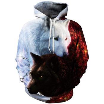 цена на Men's brand hoodie 3D Wolf head print digital print white and red flame-sleeve hoodie men's hoodie men's hoodie harajuku 2020