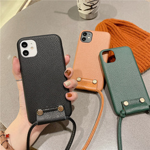 Crossbody Shoulder Strap Lanyard phone case for iPhone 12 12Pro Max 11 11Pro XR X XS Max 7 8 Plus SE Women Leather case cover