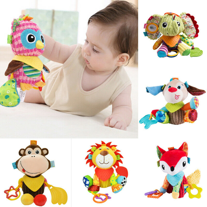 Pudcoco Newborn Baby Infant Animal Soft Rattles Teether Hanging Bell Plush Bebe Toys Gifts Newborn Acessories