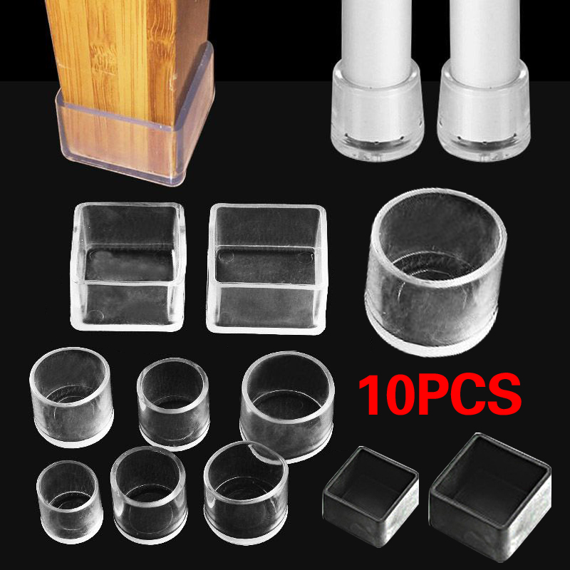 10pcs Silicone Chair Leg Caps Feet Pads, Dining Room Chair Feet Covers Square