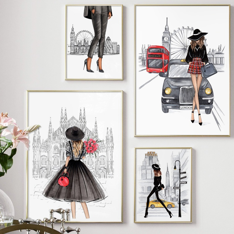 London Paris Super Model Fashion Girl Wall Art Canvas Painting Nordic Posters And Prints Wall Pictures For Living Room Decor