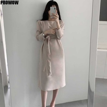 2020 Elegant One-Piece Women Long Sleeve Dress Spring Autumn Fashion Korean Vintage Bandage Waist Dress Ladies Office Dresses women bandage elegant shirt dress new v neck long sleeve office lady fashion tide spring autumn dresses