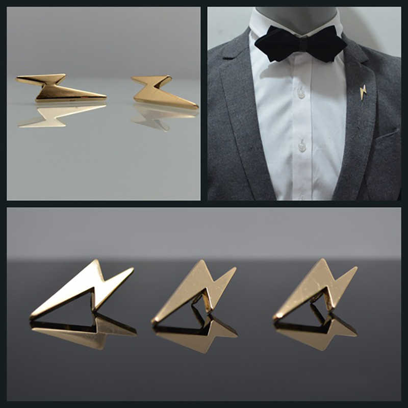 2 Stuks Mini Lightning Metalen Revers Pin Voor Mannen Pak Dress Decoraties Badge Kraag Pinnen Mens Fashion Sieraden Accessoires