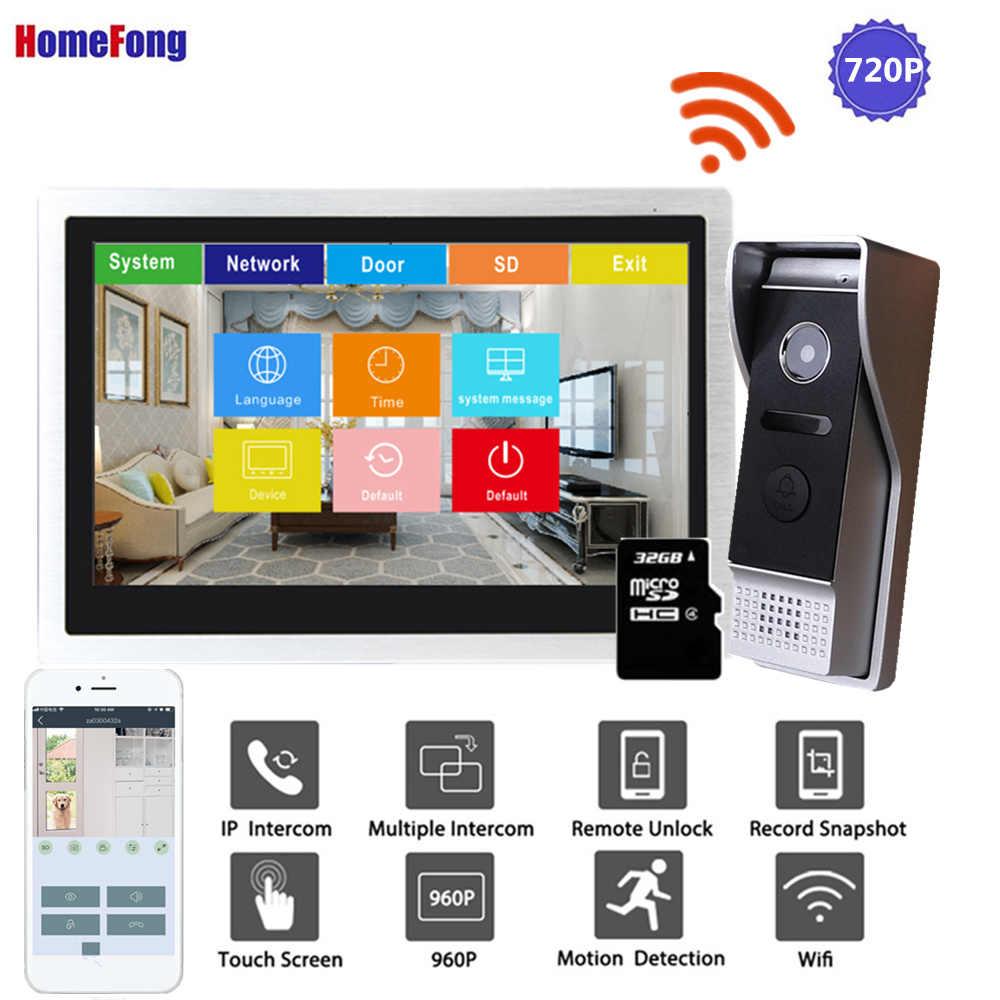 Homefong 10 Inch IP Video Intercom Wi-fi Video Pintu Ponsel Bel Pintu 720P Layar Sentuh Rumah Sistem Interkom Tahan Air catatan