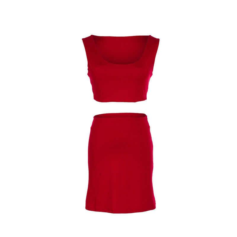 セクシーな女性 2 個セットノースリーブベストハイウエストショートスカートカジュアルスポーツスリムタイトな固体赤女性スーツ