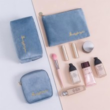 Nordic Style Large Capacity Fannel Makeup Storage Bag Travle Portable Velet Female Lipstick Cosmetic Bag Beauty Organizer