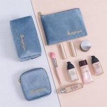 Nordic Style Large Capacity Fannel Makeup Storage Bag Travle Portable Velet Female Lipstick Cosmetic Bag Beauty Organizer