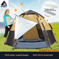 Hewolf outdoor hexagonal four season 3 8 people multi person automatic rainproof tent camping wild camping family leisure tent