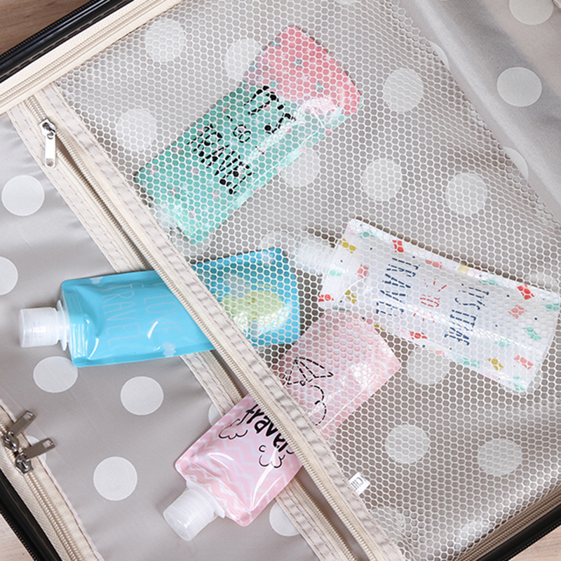 Cute Cartoon Shampoo Moisture Bottle Cream Cosmetic Liquid Storage Bag Portable Travel Folding Dispensing Bag Storage Bag