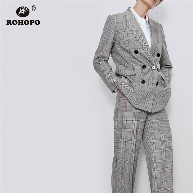 ROHOPO Double Breast Buttons Asymmetric Fly Thin Striped Plaid Gray Blazer Notched Collar British Academy Ladies Outwear #2287