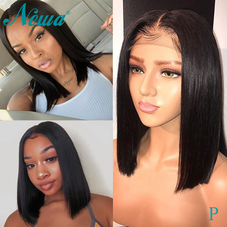 Newa Hair 360 Lace Frontal Wig Pre Plucked With Baby Hair Straight Human Hair Short Bob Wigs For Black Women Brazilian Remy Wigs