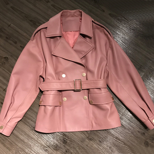 Image 3 - Women Real Lambskin Jacket Skirt Style with Belt Real Leather Fashionable Sweet Women Streetwear Pure Leather Jacket