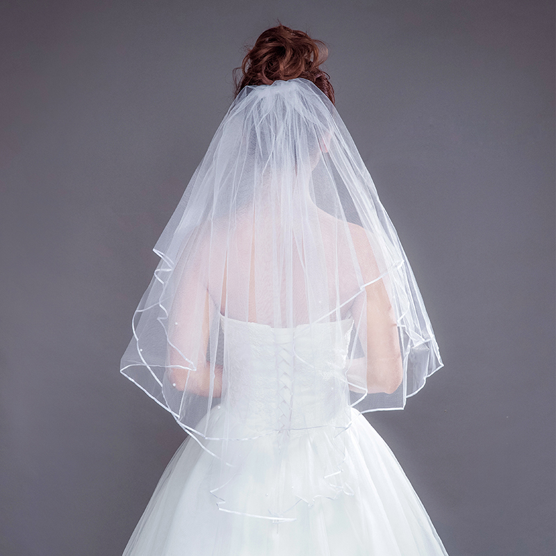 AiliBride Double Layer White Long Wedding Bridal Veil Black White