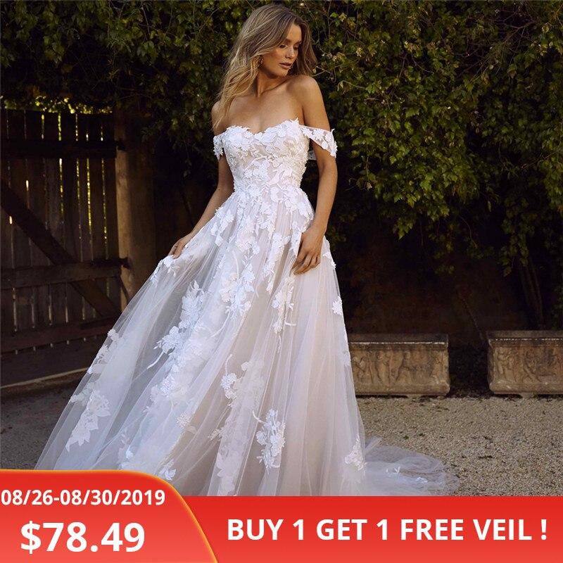 LORIE dentelle robes de mariée 2019 hors de l'épaule Appliques une ligne robe de mariée princesse robe de mariée livraison gratuite robe de mariee