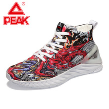 PEAK TAICHI&IDX Men Canvas Running Shoes Fashion High-top Graffiti Casual Youth Street Flexible Jogging Sneakers