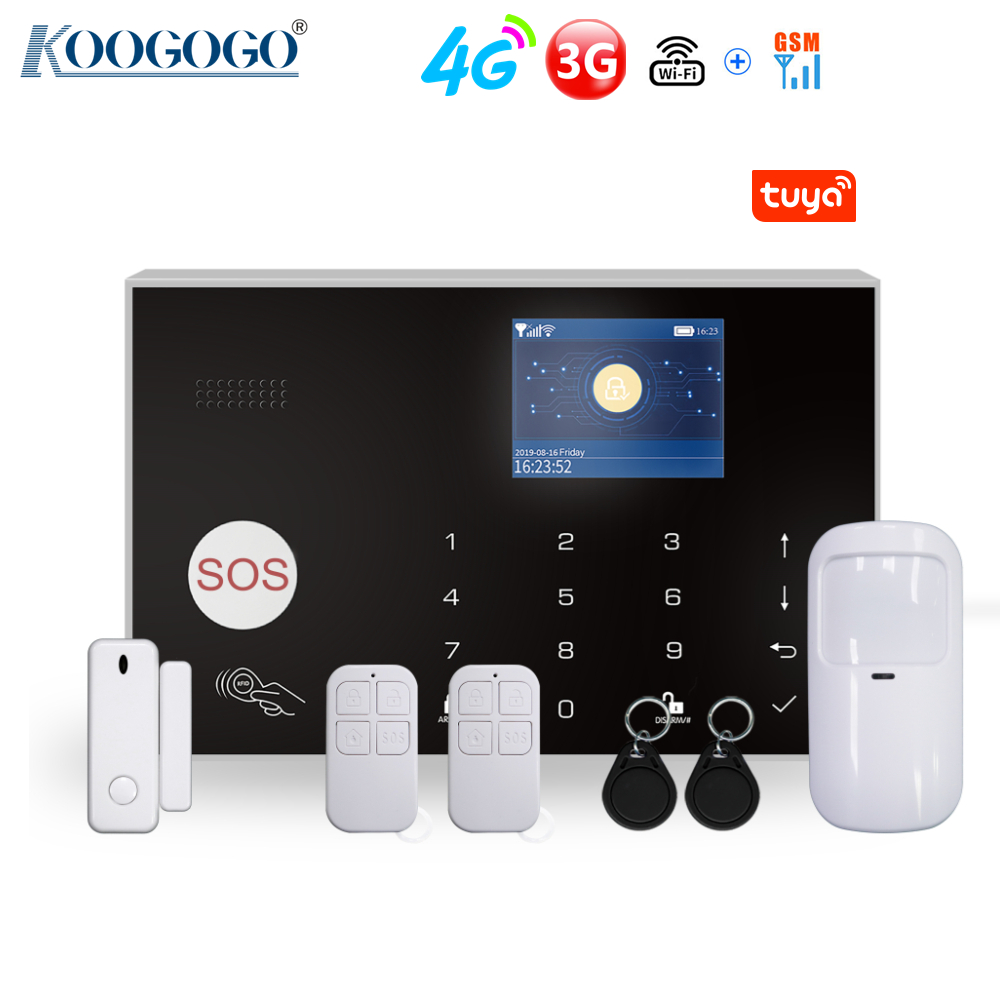 4G 3G GSM WiFi 433MHz Wireless Home Security Alarm System Tuya Smart Home Burglar Alarm Kit Compatible with Alexa & Google Home