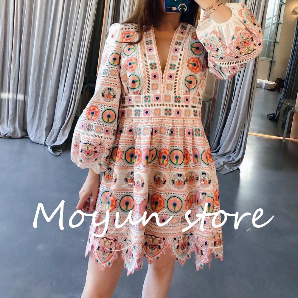 Ladies' V-neck Cotton Embroidery High Quality Mini dress