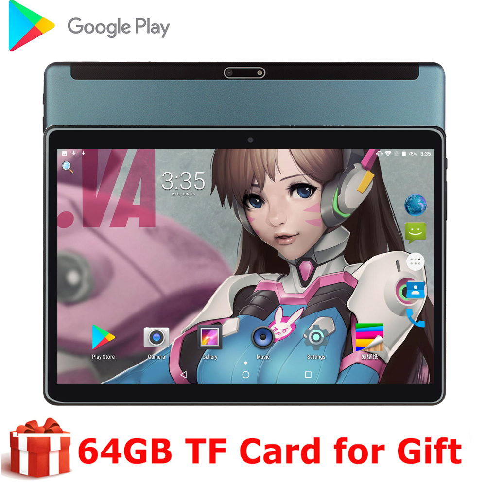 Newest 10 Inch Android 9.0 OS Tablet Pc 2GB+32GB Dual 3G SIM Phone Call WiFi Bluetooth GPS 2.5D Glass Screen 5MP IPS Gifts