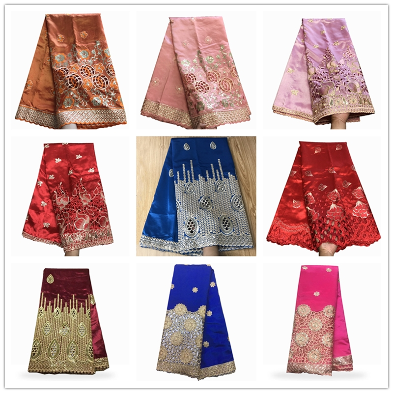 Hot Sale 37 Design African George Lace Fabric Indian George Wrappers High Quality Embroidery With Sequins