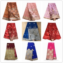 37 Design Christmas African George Lace Fabric Indian George Wrappers High Quality Embroidery With Sequins African Silk Fabrics