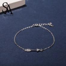 цена SA SILVERAGE 925 Sterling Silver Bracelets for Women Charm Bracelets & Bangles S925 Cupid Arrow Silver Bangle Bracelet Pulseiras онлайн в 2017 году