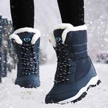Botas de nieve de invierno para mujer, botas de media pantorrilla con plataforma de terciopelo, zapatos casuales de abrigo al aire libre para mujer, impermeables 2019