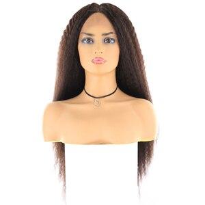 Image 5 - ライトブラウンスイスレースフロントかつら黒人女性のためのX TRESS 26 インチロング変態ストレートレースフロント人工毛かつら中部