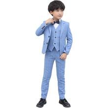 3-16Y Kids Boys Plaid Suits Set High Quality Formal Wedding Tuxedo Dress