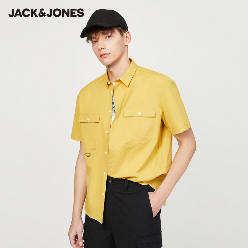 JackJones New Arrival Men's Shirt 100% Cotton Loose Fit Short-sleeved Male Shirt Menswear| 220204537