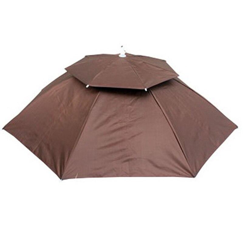 Spor ve Eğlence'ten Balıkçılık Şapkaları'de 95Cm katlanabilir kafa şemsiye şapka anti yağmur Anti Uv açık balıkçılık kapaklar taşınabilir seyahat yürüyüş plaj balık yağmur dişli title=