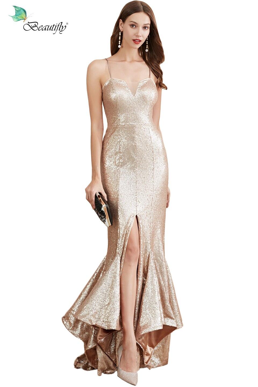 Vestidos de baile lantejoulas fishtail vestido luz