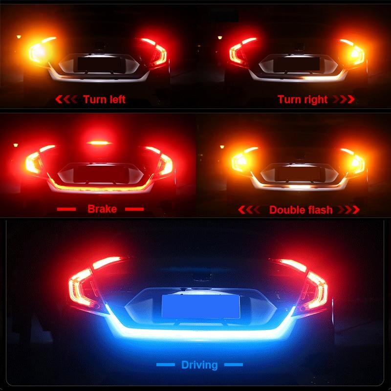 Многоцветный лед синий красный желтый белый Светодиодная лента задний багажник задний светильник автомобильный тормоз сигнал поворота по...