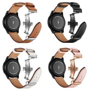 Image 3 - Italie bracelet en cuir pour samsung galaxy montre 46mm bracelet engrenage s3 bracelet 22mm bracelet Huawei montre gt bracelet papillon boucle 46