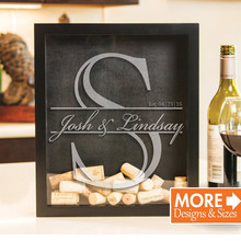 Custom monogram Wine Cork Holder - Wine Cork Shadow Box for Wine Lover Gifts, Wedding Guest Book Alternative drop top wish box wine country postcard book