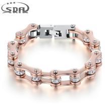 SDA pulsera de cadena de eslabones de acero inoxidable para mujer, brazalete con cristales, color oro rosa, regalo para chica YM103
