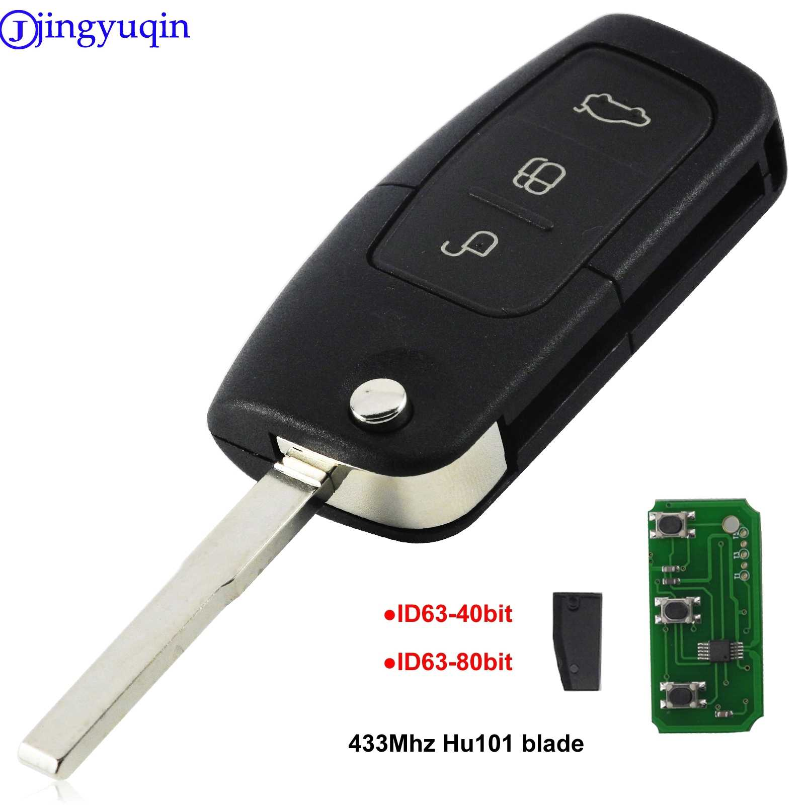 Jingyuqin 433MHz 4D63 40bit 80bit 3 أزرار الوجه للطي مفتاح تحكم عن بعد لفورد فوكس فييستا 2013 حافظة فوب HU101 شفرة