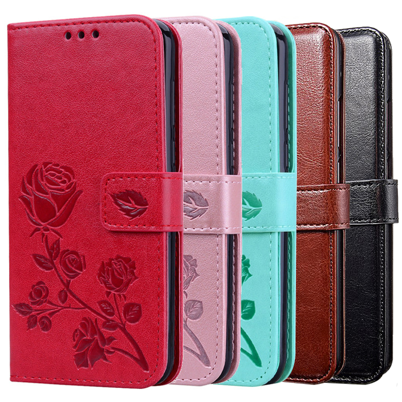Leather Wallet Stander Coque Cover for <font><b>TP</b></font>-<font><b>Link</b></font> <font><b>Neffos</b></font> Y7 C7 <font><b>C5</b></font> <font><b>Plus</b></font> Y50 Y5 Y5i Y5S Y6 C9 Max X20 Pro C9S Metal Flower <font><b>Case</b></font> image